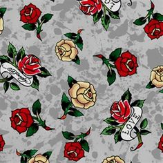 Love Is True Ed Hardy Tossed Tattoo Roses Mottled Grey Cotton Fabric