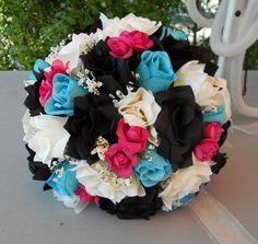 Brides bouquet black ,fuchsia, turquoise and ivory roses Nosegay round style 2 pc Orchid Bouquet, Cascade Bouquet, Nosegay, Ivory Roses, Black Orchid, Bride Bouquets, Amazing Flowers, Red Black, Orchids