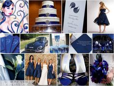 navy blue, silver & white
