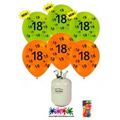 Pack de helio mini más 30 globos de látex de colores con el número 18 decorados con dibujos.