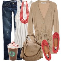 Starbucks!! on Polyvore    INSPIRED: blonde jacket, white top, coral jewelry/shoes, blonde bag