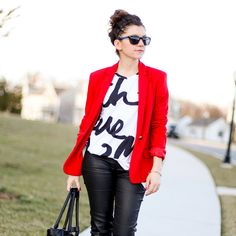 red blazer leather pants