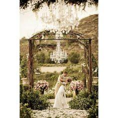 Chandelier garden wedding found on Polyvore