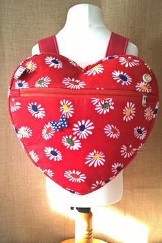 red daisy heart backpack, school bag, nursery bag, day bag, with matching purse available by grannyhodgesewing on Etsy