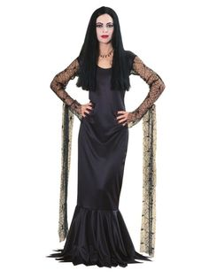 The Addams Family Morticia Addams Cosplay Costume Gothic Black Fancy Dress Women Addams Family Halloween Costumes, Costume Halloween, Family Costumes, Adult Costumes, Costumes For Women, Adult Halloween, 1960s Costumes, Halloween Carnival, Ninja Halloween