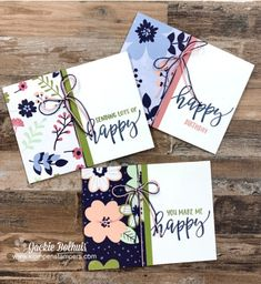 Simple Birthday Cards, Handmade Birthday Cards, Happy Birthday Cards, Scrapbook Birthday Cards, Simple Card Designs, Card Making Supplies, Stamping Up Cards, Paper Cards, Flower Cards