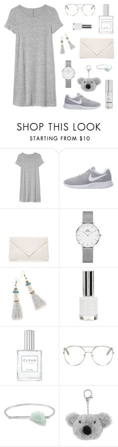 """Grey"" by tsaniaardhani on Polyvore featuring Gap, NIKE, Daniel Wellington, Topshop, Chloé, Acne Studios, Monsoon, ootd and polyvoreeditorial"