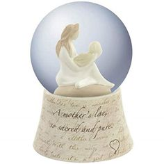 """Christmas gifts for new moms:  Sweet water globe features the quote, """"A mother's love, so sacred and pure"""""""