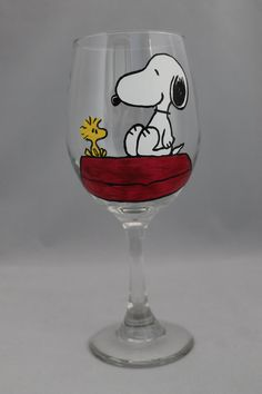This listing is for one Snoopy and Woodstock Peanuts inspired glass. Upon…