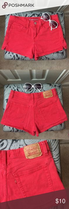 Too small. Cute fire truck red Levi's in super low stretch type size 5 in Jr's. Only worn a handful of times! Levi's Shorts Jean Shorts