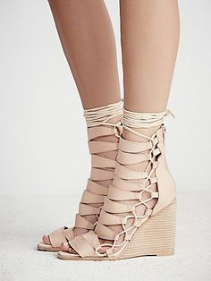 e9454fe1dc9 Nude Lace Up Wedges Lace Up Wedge Sandals