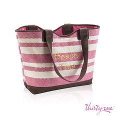 A fun new solution with an easy-going summer feel, you'll love how you look with this at your side. Fill it with towels, snacks and sunscreen for a day at the beach or pool, or give it a go as your carefree everyday purse! It features a tie closure, interior zipper pocket, lobster claw and two interior flat pockets.