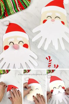 This simple and cute Santa handprint craft for kids is the perfect Christmas activity for kids! It makes a lovely keepsake to give Mom Dad or grandparents and comes with a free printable template. Make it with toddlers preschoolers or elementary children! Kids Crafts, Christmas Arts And Crafts, Santa Crafts, Christmas Crafts For Toddlers, Daycare Crafts, Winter Crafts For Kids, Preschool Crafts, Kids Christmas, Holiday Crafts