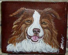 Border Collie Dog Painted Leather Men's by daniellesoriginals, $30.95