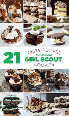 21 Tasty Recipes to Make with Girl Scout Cookies @mybakingaddiction  #girlscoutcookies #dessert