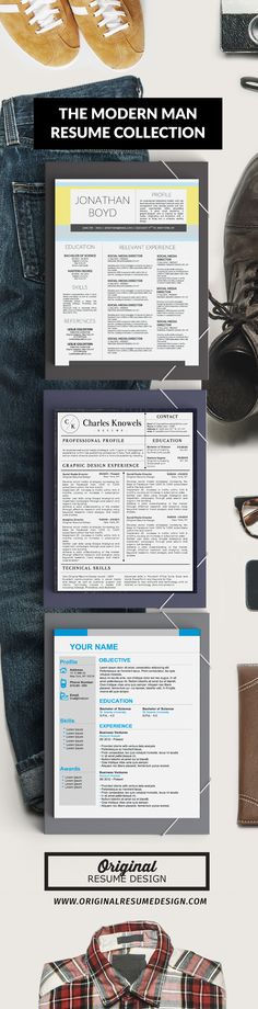 The modern man resume collection. 3 Modern Resume CV Designs for MS Word. Includes 2-page resume templates with matching cover letters.