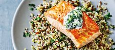 Dale Pinnock's healthy salmon and quinoa tzatziki salad is cooling and refreshing, and best of all, the combination of ingredients has a stabilising effect on your blood sugar.