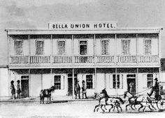 Drawing of the Bella Union, L.A.'s first hotel, as it appeared in 1858.