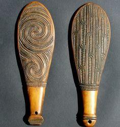 Arthur Beau Palmer - Maori Wahaika Tiki War Club Samoan Tribal, Filipino Tribal, Hawaiian Tribal, Hawaiian Tattoo, Maori Symbols, Maori Patterns, Polynesian Art, Cross Tattoo For Men, Maori Designs