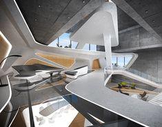 Rest House on Behance Concept Architecture, Futuristic Architecture, Amazing Architecture, Architecture Design, Futuristic Bedroom, Futuristic Home, Interior Design Colleges, Interior Design Software, Zeitgenössisches Apartment