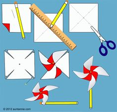 Illustration of how to make the Easy Pinwheel pinwheels Summer Crafts For Kids, Spring Crafts, Projects For Kids, Diy For Kids, Craft Projects, Garden Crafts For Kids, Summer Kids, Toddler Crafts, Preschool Crafts
