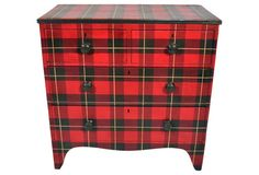 Painted Tartan Chest. circa 1870, but someone recently poainted it like this. I almost always get a kick out of plaid furniture, but this time, I'm mostly alarmed