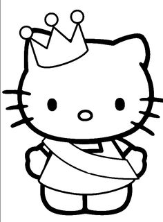 Hello Kitty Was Wearing A Crown Coloring Page