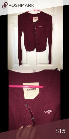 Hollister Cardigan Red Hollister button up cardigan size small. Only worn a few times Hollister Sweaters Cardigans
