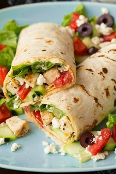 Greek Grilled Chicken & Hummus Wrap - Cooking Classy Greek Grilled Chicken & Hummus Wrap - Cooking Classy Original article and pictures . Healthy Dinner Recipes For Weight Loss, Clean Eating Recipes, Healthy Snacks, Cooking Recipes, Healthy Recipes, Healthy Wraps, Simple Recipes, Healthy Burritos, Healthy Eating