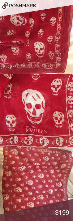 Alexander McQueen Skull Scarf Never before worn Alexander McQueen skull scarf in red. In perfect condition. Alexander McQueen Accessories Scarves & Wraps