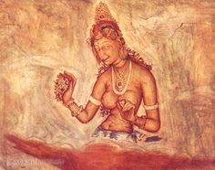 Fresco Paintings at Sigiriya Rock, Seegiriya Sri Lanka. These are believed to have been painted in the fifth century AD. Photograph Taken in 1930-40s.