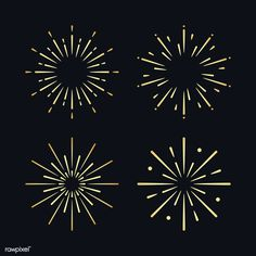 Set of firework explosion vectors | free image by rawpixel.com / NingZk V. How To Draw Fireworks, Fireworks Art, Fireworks Design, New Year Fireworks, Vector Design, Graphic Design, Free Illustrations, Wall Collage, Black Backgrounds