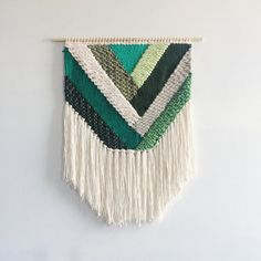 Wall hanging woven emerald geometric weaving by UnrulyEdges - Weaving Textiles, Weaving Art, Tapestry Weaving, Loom Weaving, Weaving Patterns, Wall Tapestry, Weaving Wall Hanging, Wall Hangings, Weaving Projects