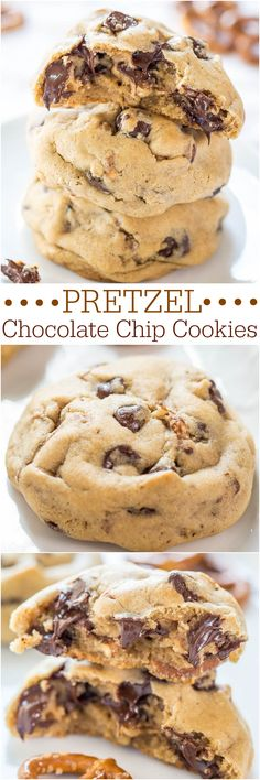 Pretzel Chocolate Chip Cookies - Soft chocolate chip cookies packed with chocolate chips and crunchy pretzels! Salty-and-sweet all in one! Easy dessert for your parties! Cookie Desserts, Just Desserts, Cookie Recipes, Delicious Desserts, Dessert Recipes, Yummy Food, Pretzel Desserts, Cooking Cookies, Yummy Cookies