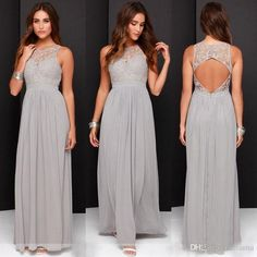Hot Sale Elegant Light Grey Long Lace Chiffon Bridesmaid Dresses Open Back 2016…
