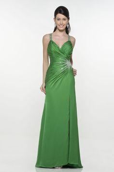 2012 Graceful Green Sheath Beading Empire Waist Long Hot Sale Custom (ED-089) [ED-089] - $97.99 :