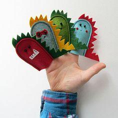 Four Felt Dinosaur Finger Puppets