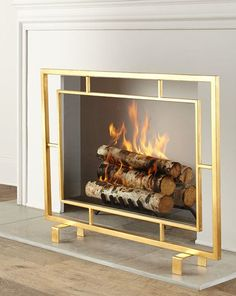 Shay Glass Fireplace Screen At Horchow & shay glass kaminschirm bei horchow & & paravent de cheminée en verre shay à horchow & pantalla de chimenea de vidrio shay en horchow Modern Fireplace Screen, Decorative Fireplace Screens, Modern Fireplace Tools, Glass Fireplace Screen, Paint Fireplace, Shiplap Fireplace, Fireplace Mirror, Living Room With Fireplace, Fireplace Surrounds