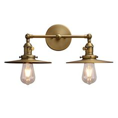 Phansthy 2 Lights Wall Sconce Antique Finished Bathroom Vanity Light with Switch and Dual Inches Flat Metal Lampshade (Antique) >>> You can find more details by visiting the image link. (This is an affiliate link) Matte Black Bathroom Faucet, Bathroom Vanity Lighting, Wall Sconce Lighting, Wall Sconces, Hall Bathroom, Master Bathroom, Bathroom Lampshade, Black Vanity Light, Plug In Wall Lights