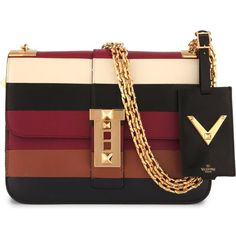 VALENTINO B-Rockstud striped leather shoulder bag (12 260 PLN) ❤ liked on Polyvore featuring bags, handbags, shoulder bags, purses, multi, studded shoulder bag, real leather handbags, studded purse, chain strap purse and striped handbag