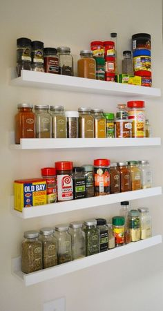 Ribba photo shelves from Ikea are available in black and white; - Ikea DIY - The best IKEA hacks all in one place Spice Shelf, Spice Storage, Spice Organization, Spice Racks, Organizing, Storage Shelves, Ikea Spice Rack Hack, Ikea Rack, Wall Spice Rack