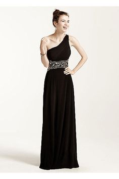 Open Back One Shoulder Prom Dress with Bead Detail for Winter Formal.