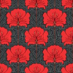 Colorful seamless pattern with red flowers on gray background Art nouveau stock vector