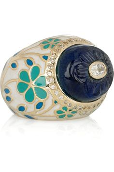 Isharya Cheran gold-plated ring Isharya Cheran ring: gold-plated, blue glass stone and clear crystal embellishment, turquoise and blue Engraved Jewelry, Resin Jewelry, Crystal Jewelry, Crystal Ring, Jewellery, Clear Crystal, Jewelry Rings, Isharya, Turkish Jewelry