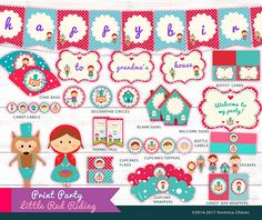 ★Hello, welcome to VeroVeroParties. Thanks for visiting us ★ Printables for Little Red Riding BIRTHDAY PARTY. Invitations,Labels, Wrappers, banner or more! ♥ Enjoy party planning! ♥ ¡Print magic and fun!