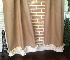 Burlap Cotton Ruffles Burlap Curtain Panel by SimplyFrenchMarket, $52.00