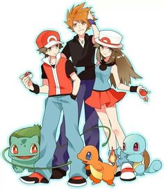 Pokemon Adventures! Red, Blue, and Green. <3