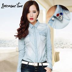 2013 the new spring clothing color drill collar cowboy shirt female long sleeve big wind restoring ancient ways of cultivate one's morality shirt in Europe and America