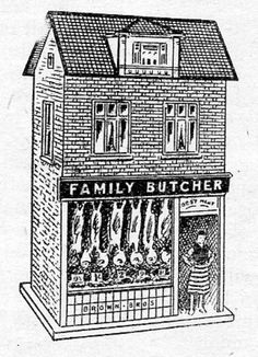 Illustration for a Family Butcher shop, made with Handicrafts Doll's House Papers. From the 1926 Handicrafts Annual.  Handicrafts published monthly magazines and annual handbooks for amateur woodworkers. Their catalogues included designs for furniture, toys, decorative fretwork, etc, the tools and wood needed to make the items, and articles giving guidance on various aspects of woodwork.