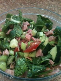 Salad with Free Range Turkey or Chicken {cold} ~collard greens, tomato, cucumber, red bell pepper, celery, red onion  Mediterranean Dressing {EVOO, garlic, salt, pepper  fresh squeezed lemon juice} http://www.VegasFitClub.com